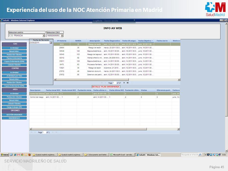 SERVICIO MADRILEÑO DE SALUD Página 45 Experiencia del uso de la NOC Atención Primaria en Madrid