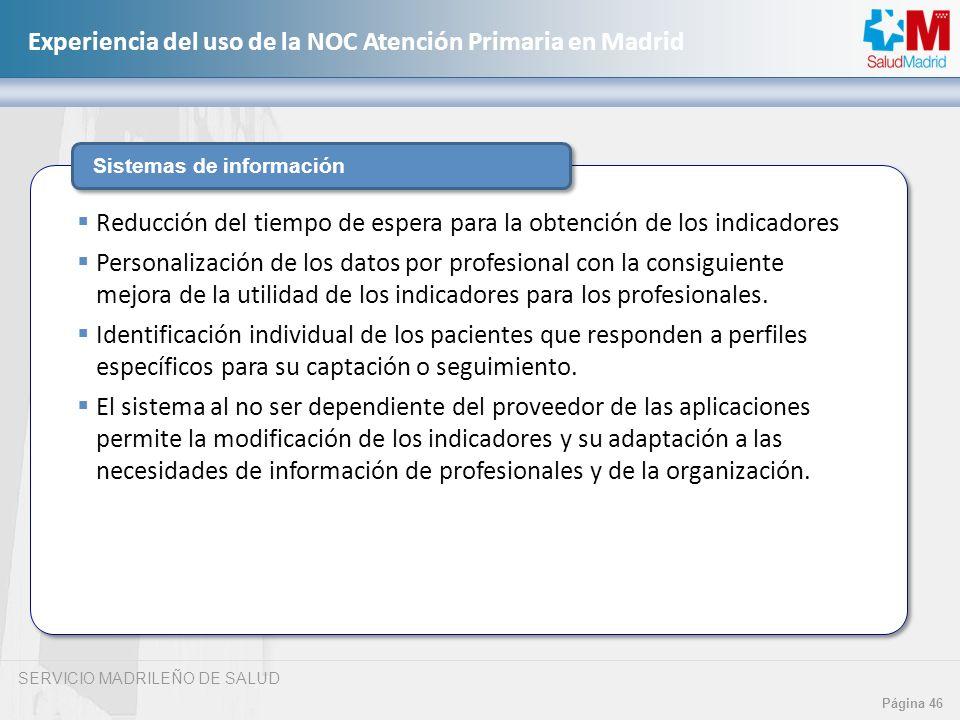 SERVICIO MADRILEÑO DE SALUD Página 46 Experiencia del uso de la NOC Atención Primaria en Madrid Sistemas de información Reducción del tiempo de espera