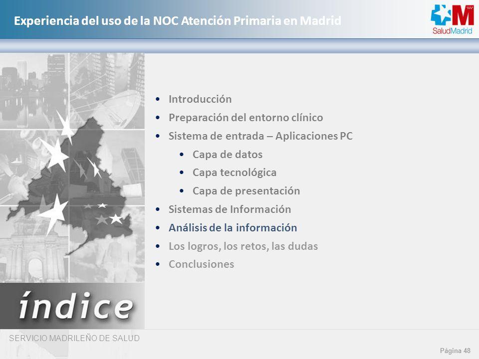 SERVICIO MADRILEÑO DE SALUD Página 48 Experiencia del uso de la NOC Atención Primaria en Madrid Introducción Preparación del entorno clínico Sistema d