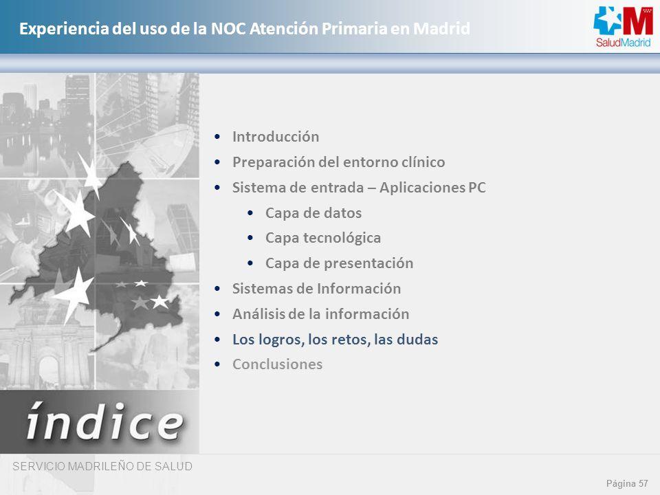 SERVICIO MADRILEÑO DE SALUD Página 57 Experiencia del uso de la NOC Atención Primaria en Madrid Introducción Preparación del entorno clínico Sistema d