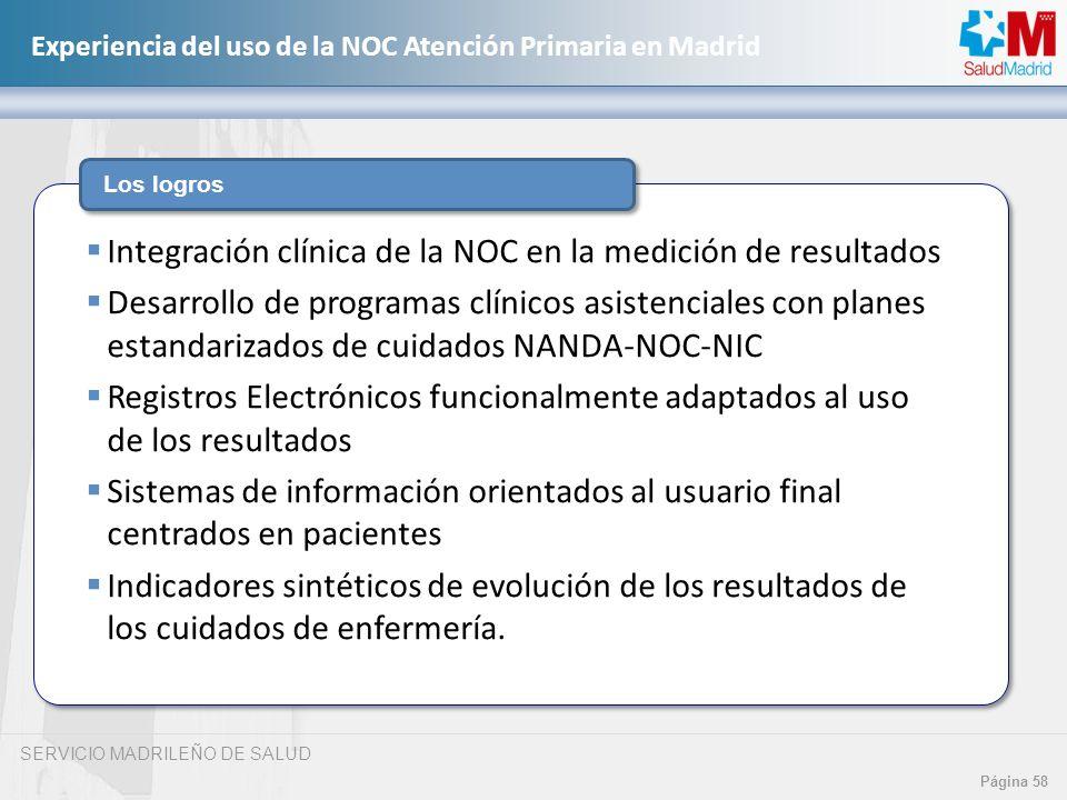 SERVICIO MADRILEÑO DE SALUD Página 58 Experiencia del uso de la NOC Atención Primaria en Madrid Los logros Integración clínica de la NOC en la medició