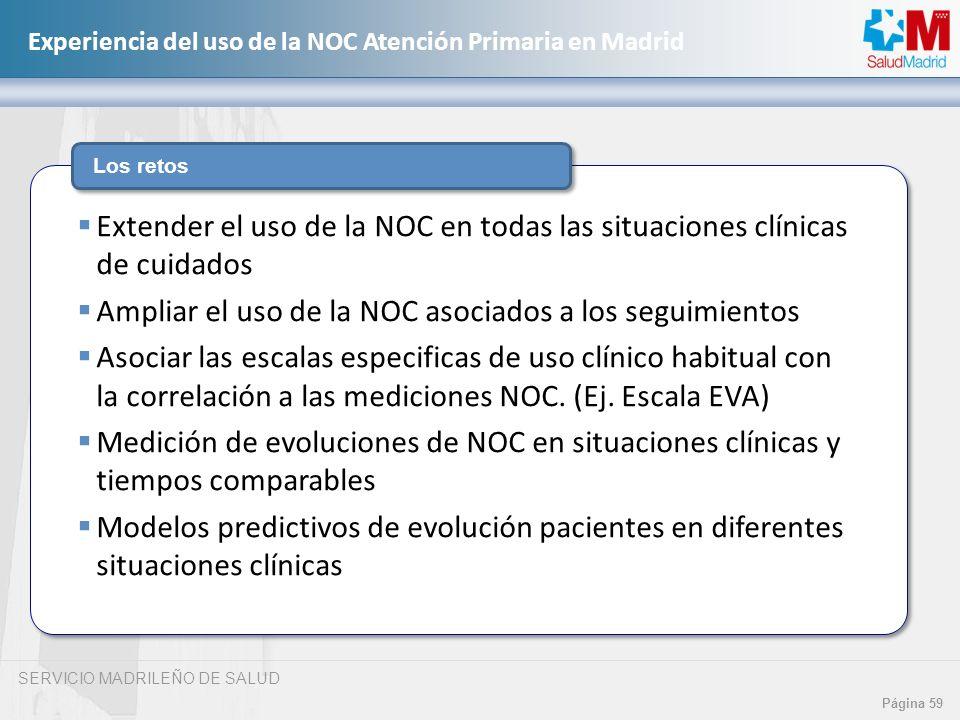SERVICIO MADRILEÑO DE SALUD Página 59 Experiencia del uso de la NOC Atención Primaria en Madrid Los retos Extender el uso de la NOC en todas las situa