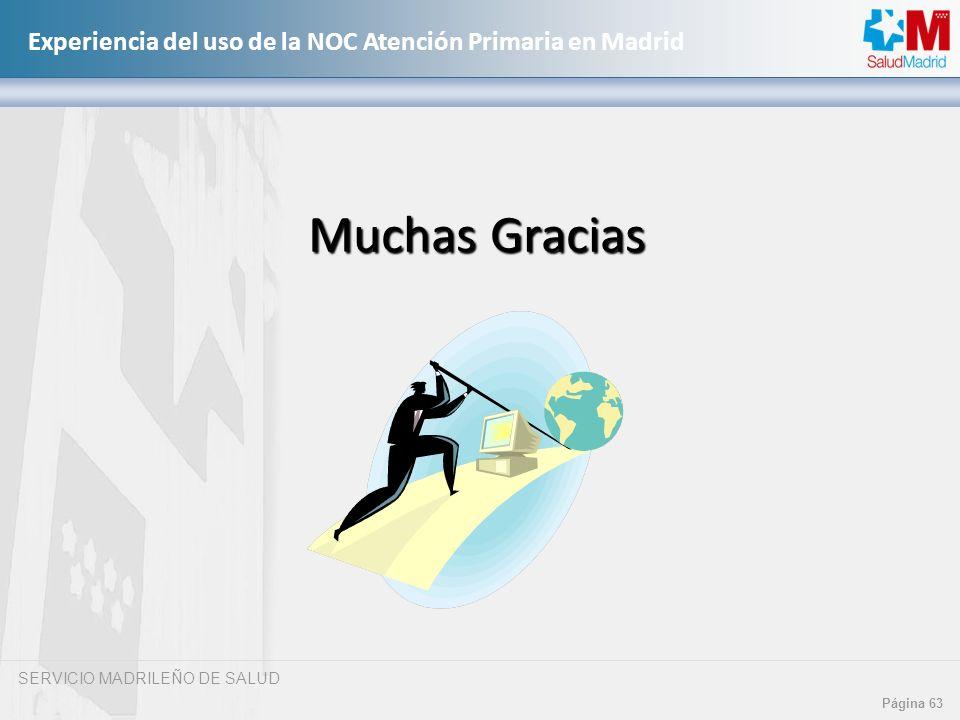 SERVICIO MADRILEÑO DE SALUD Página 63 Experiencia del uso de la NOC Atención Primaria en Madrid Muchas Gracias