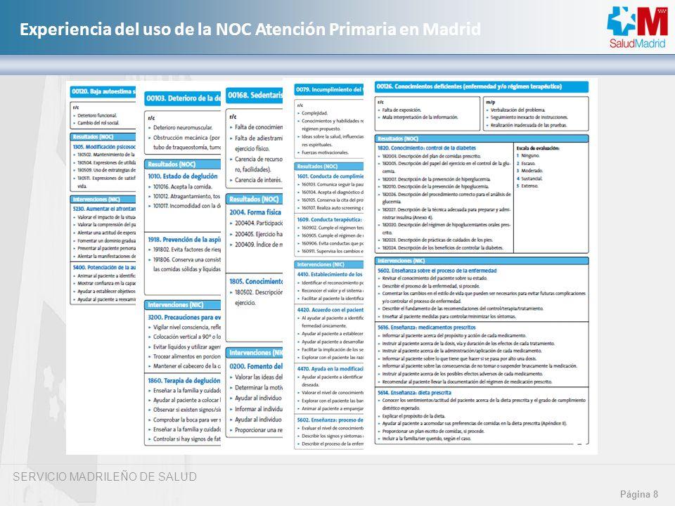 SERVICIO MADRILEÑO DE SALUD Página 8 Experiencia del uso de la NOC Atención Primaria en Madrid
