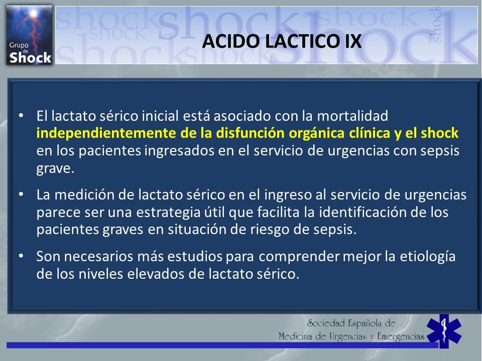ACIDO LACTICO IX El lactato sérico inicial está asociado con la mortalidad independientemente de la disfunción orgánica clínica y el shock en los paci