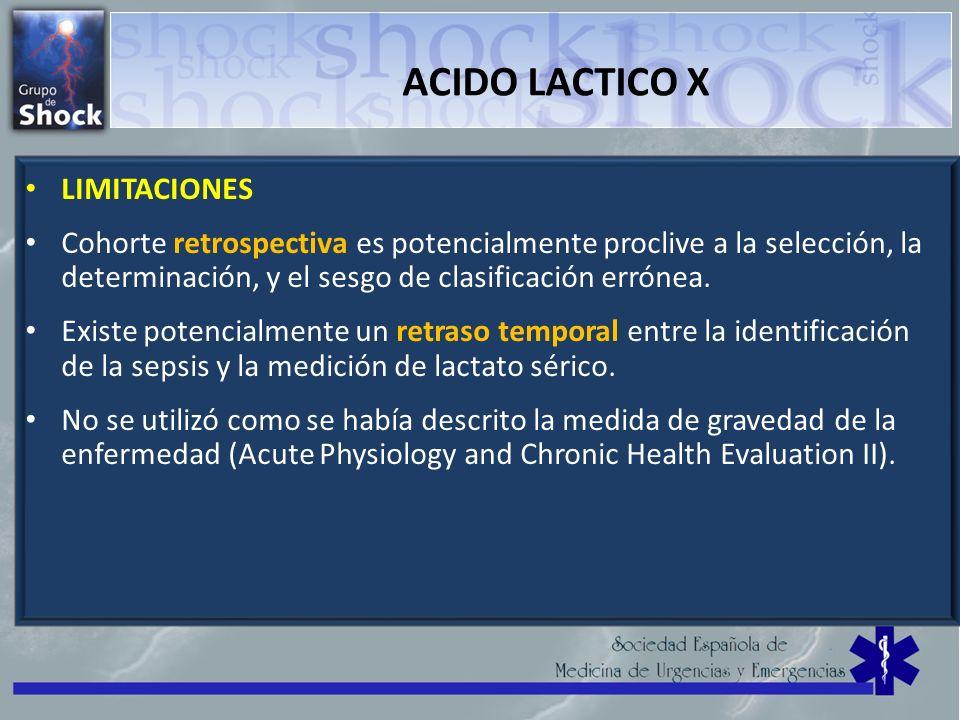 ACIDO LACTICO X LIMITACIONES Cohorte retrospectiva es potencialmente proclive a la selección, la determinación, y el sesgo de clasificación errónea. E