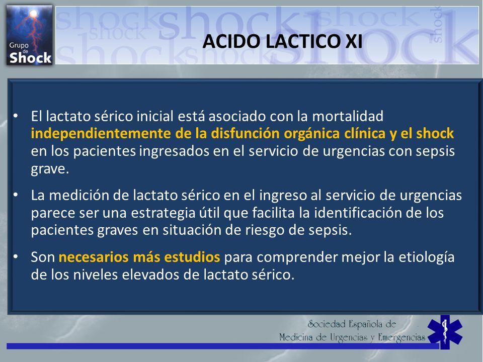 ACIDO LACTICO XI El lactato sérico inicial está asociado con la mortalidad independientemente de la disfunción orgánica clínica y el shock en los paci
