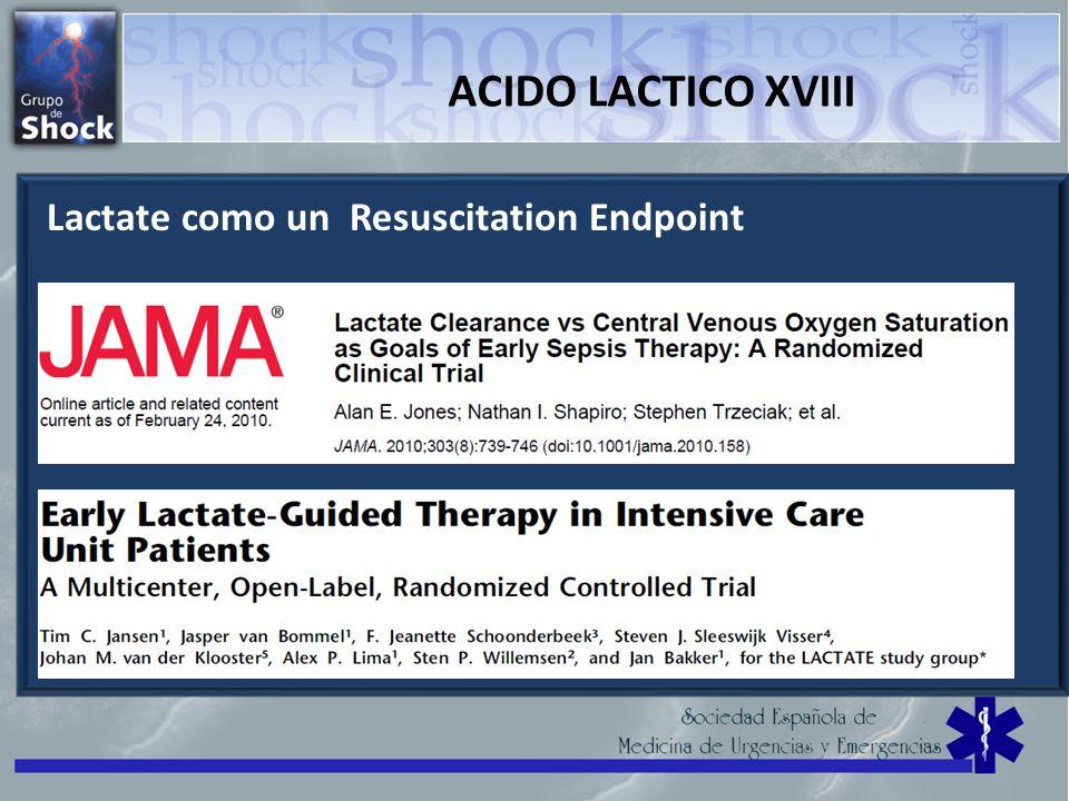 ACIDO LACTICO XVIII Lactate como un Resuscitation Endpoint