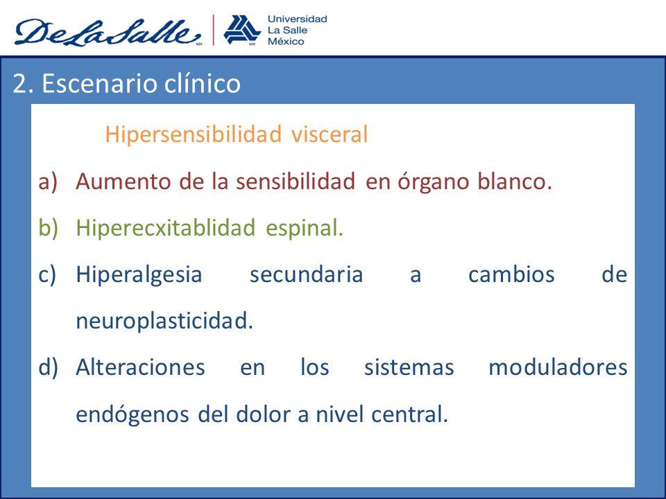 Hipersensibilidad visceral a)Aumento de la sensibilidad en órgano blanco. b)Hiperecxitablidad espinal. c)Hiperalgesia secundaria a cambios de neuropla