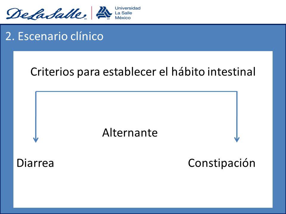 Criterios para establecer el hábito intestinal Alternante DiarreaConstipación 2. Escenario clínico