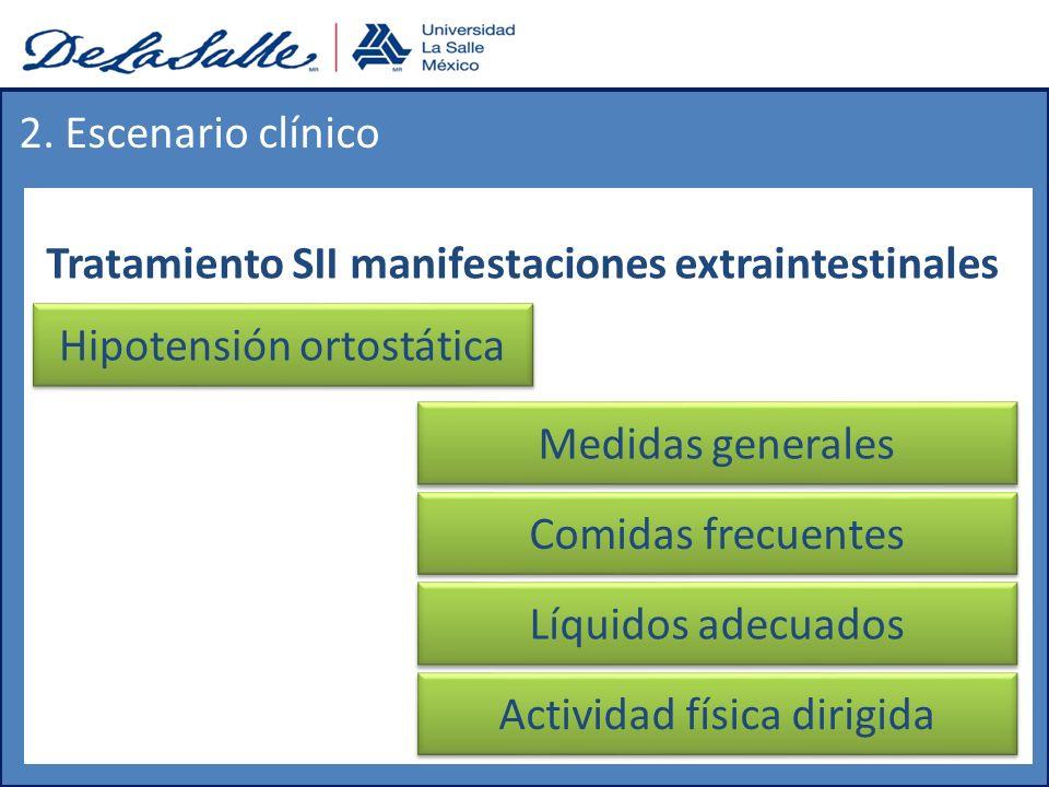Tratamiento SII manifestaciones extraintestinales 2. Escenario clínico Hipotensión ortostática Medidas generales Comidas frecuentes Líquidos adecuados