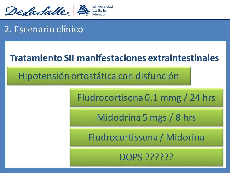 Tratamiento SII manifestaciones extraintestinales 2. Escenario clínico Hipotensión ortostática con disfunción Fludrocortisona 0.1 mmg / 24 hrs Midodri