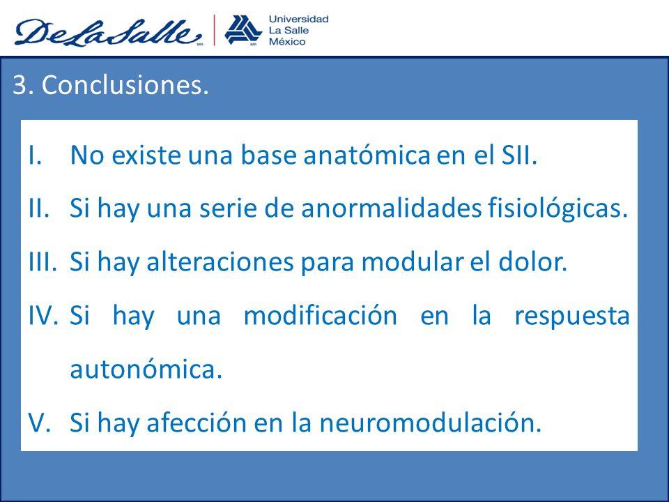 3. Conclusiones. I.No existe una base anatómica en el SII. II.Si hay una serie de anormalidades fisiológicas. III.Si hay alteraciones para modular el