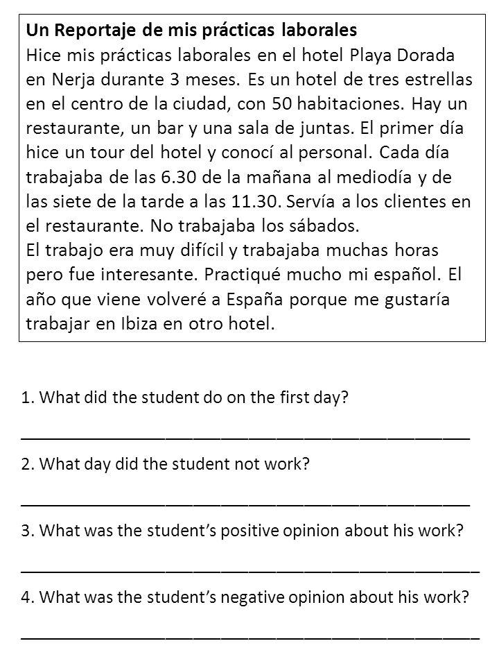 Un Reportaje de mis prácticas laborales Hice mis prácticas laborales en el hotel Playa Dorada en Nerja durante 3 meses. Es un hotel de tres estrellas