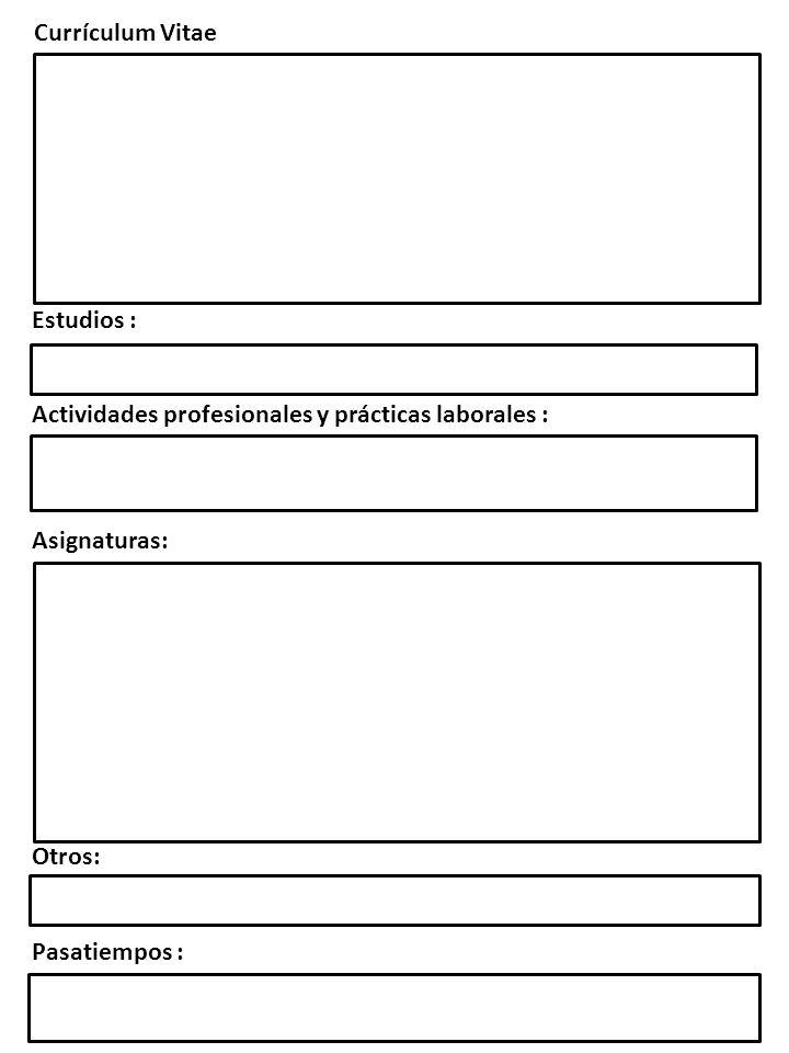 Estudios : Actividades profesionales y prácticas laborales : Asignaturas: Otros: Pasatiempos : Currículum Vitae
