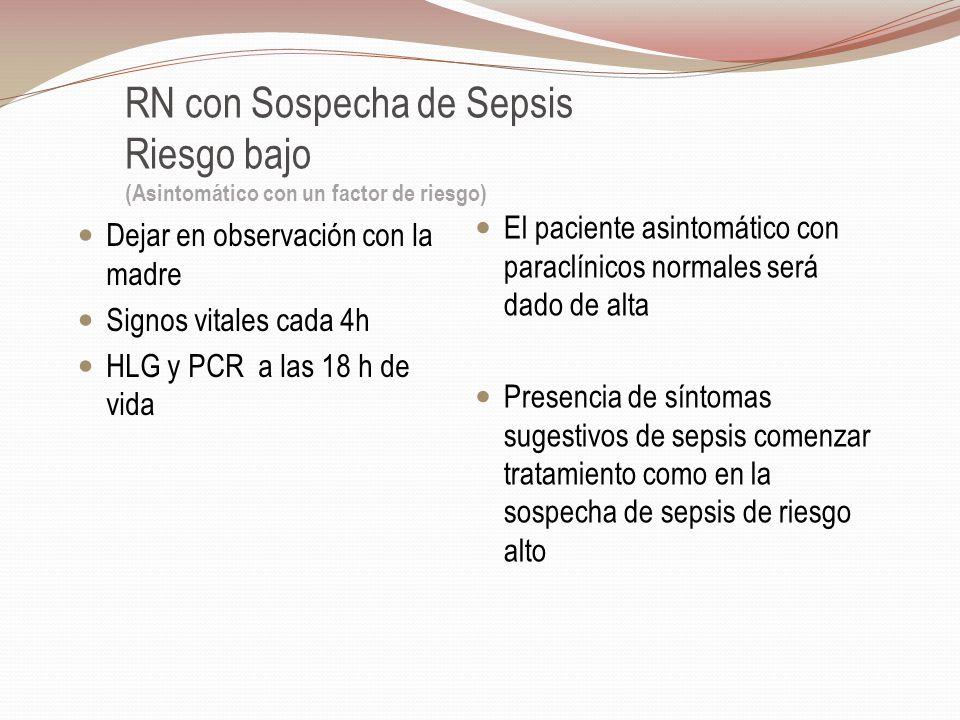 RN con Sospecha de Sepsis Riesgo bajo (Asintomático con un factor de riesgo) Dejar en observación con la madre Signos vitales cada 4h HLG y PCR a las