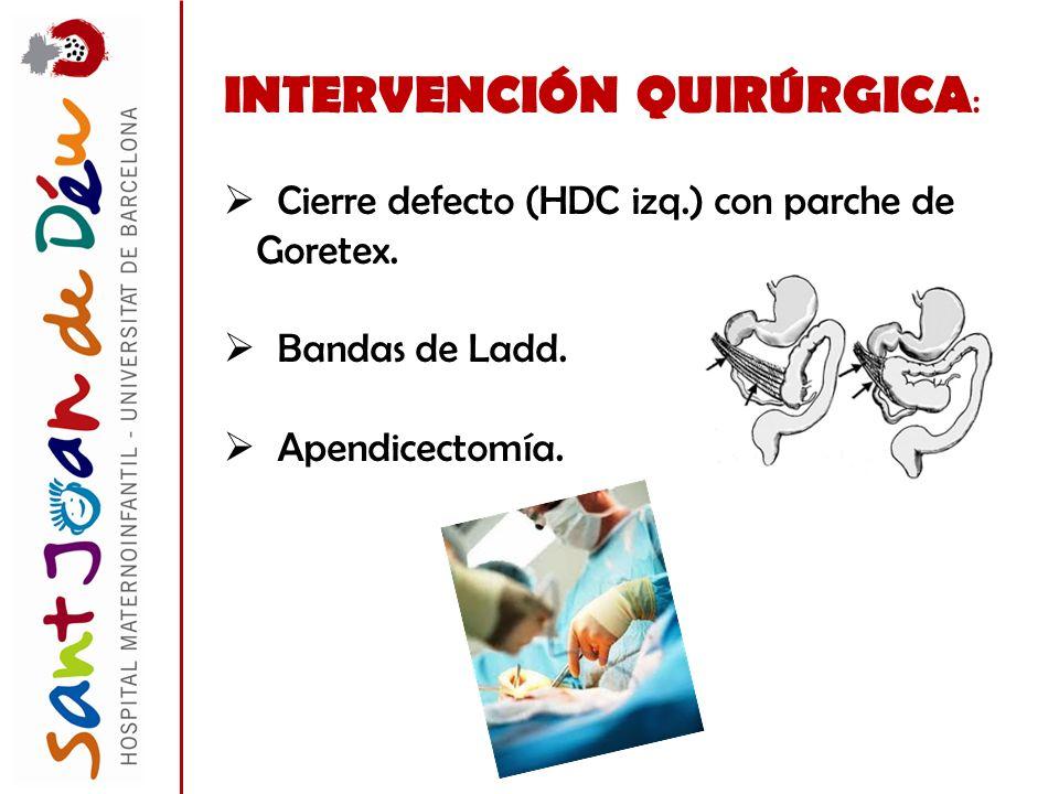 INTERVENCIÓN QUIRÚRGICA : Cierre defecto (HDC izq.) con parche de Goretex. Bandas de Ladd. Apendicectomía.
