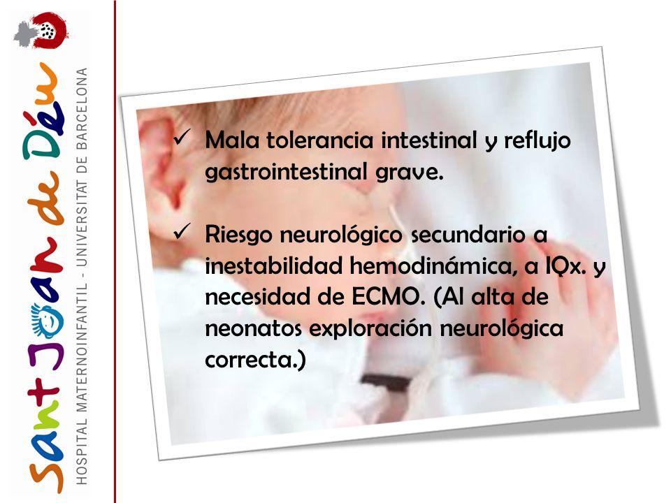Mala tolerancia intestinal y reflujo gastrointestinal grave. Riesgo neurológico secundario a inestabilidad hemodinámica, a IQx. y necesidad de ECMO. (