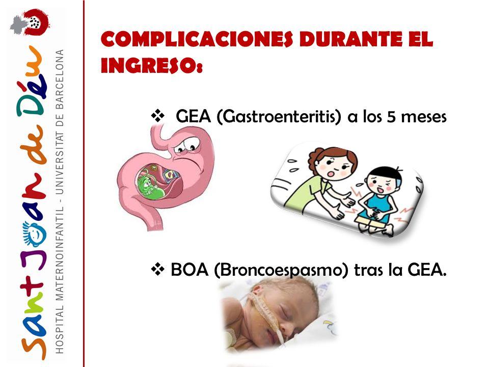 COMPLICACIONES DURANTE EL INGRESO: GEA (Gastroenteritis) a los 5 meses BOA (Broncoespasmo) tras la GEA.