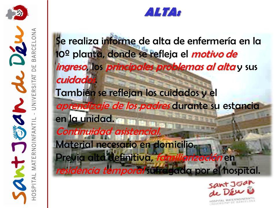 ALTA: motivo de ingresoprincipales problemas al alta cuidados Se realiza informe de alta de enfermería en la 10º planta, donde se refleja el motivo de
