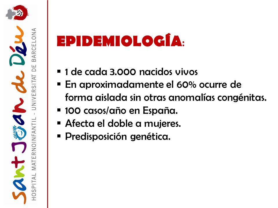 EPIDEMIOLOGÍA : 1 de cada 3.000 nacidos vivos En aproximadamente el 60% ocurre de forma aislada sin otras anomalías congénitas. 100 casos/año en Españ