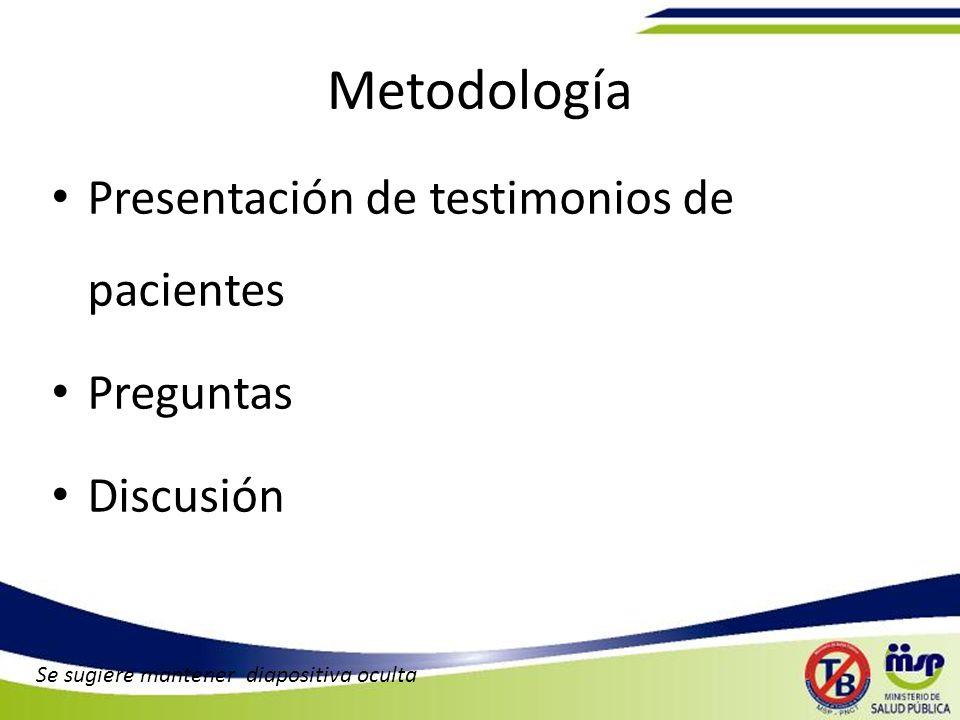 Metodología Presentación de testimonios de pacientes Preguntas Discusión Se sugiere mantener diapositiva oculta