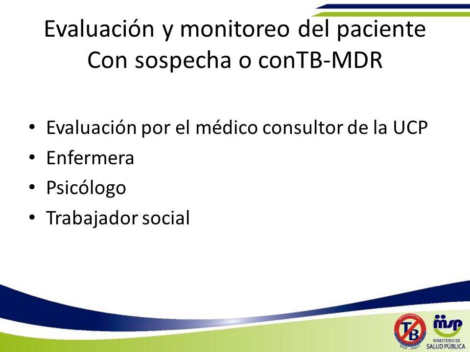 Evaluación y monitoreo del paciente Con sospecha o conTB-MDR Evaluación por el médico consultor de la UCP Enfermera Psicólogo Trabajador social
