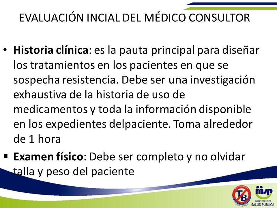 EVALUACIÓN INCIAL DEL MÉDICO CONSULTOR Historia clínica: es la pauta principal para diseñar los tratamientos en los pacientes en que se sospecha resistencia.