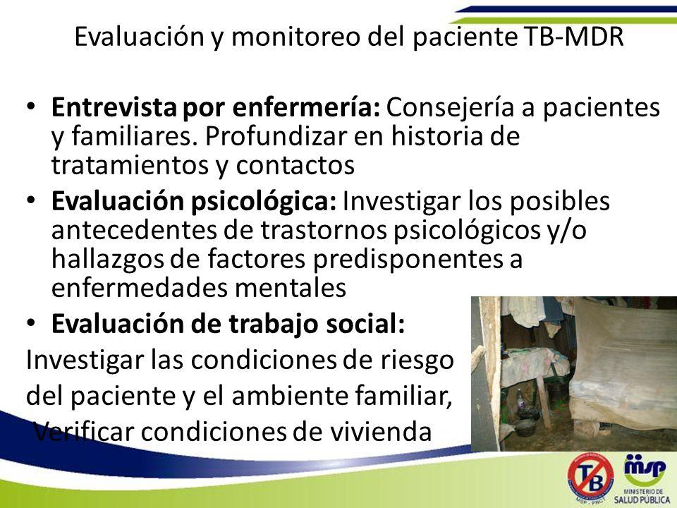 Evaluación y monitoreo del paciente TB-MDR Entrevista por enfermería: Consejería a pacientes y familiares.