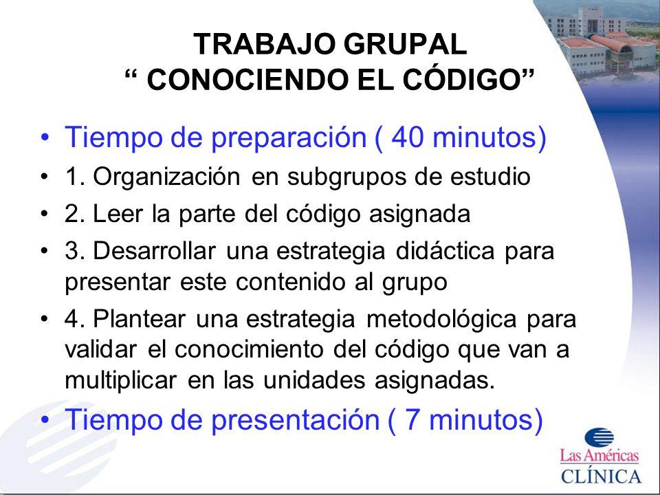 TRABAJO GRUPAL CONOCIENDO EL CÓDIGO Tiempo de preparación ( 40 minutos) 1. Organización en subgrupos de estudio 2. Leer la parte del código asignada 3