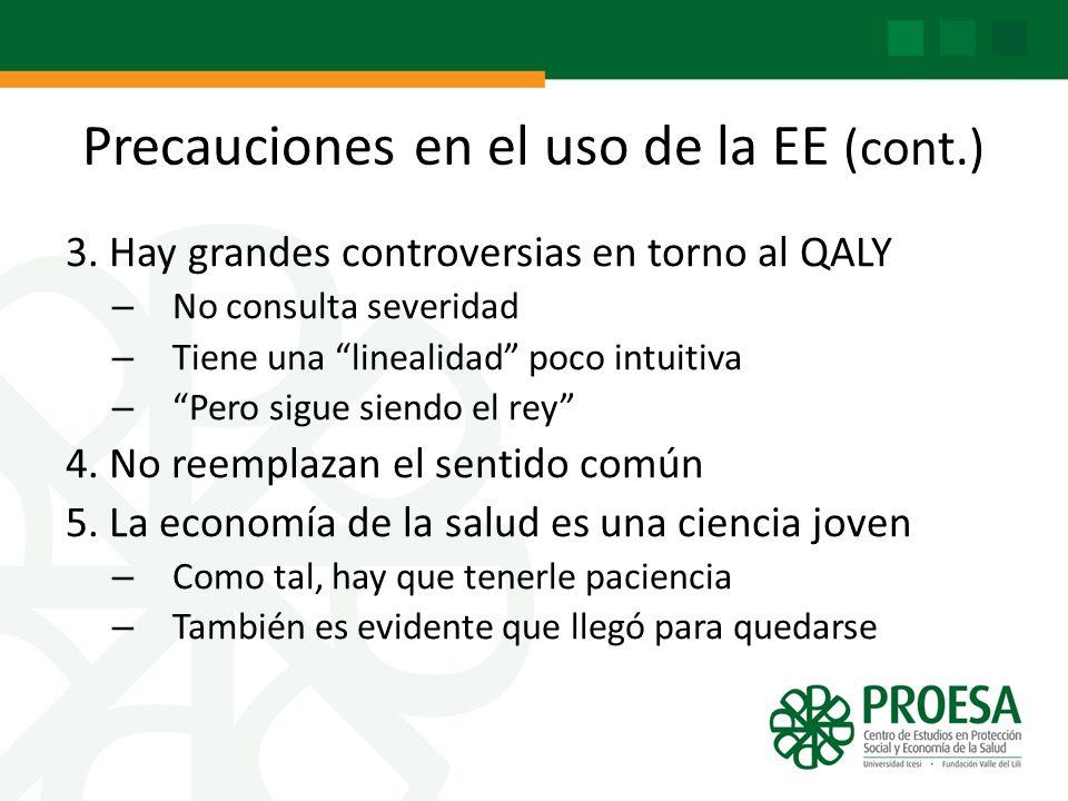 Precauciones en el uso de la EE (cont.) 3. Hay grandes controversias en torno al QALY – No consulta severidad – Tiene una linealidad poco intuitiva –