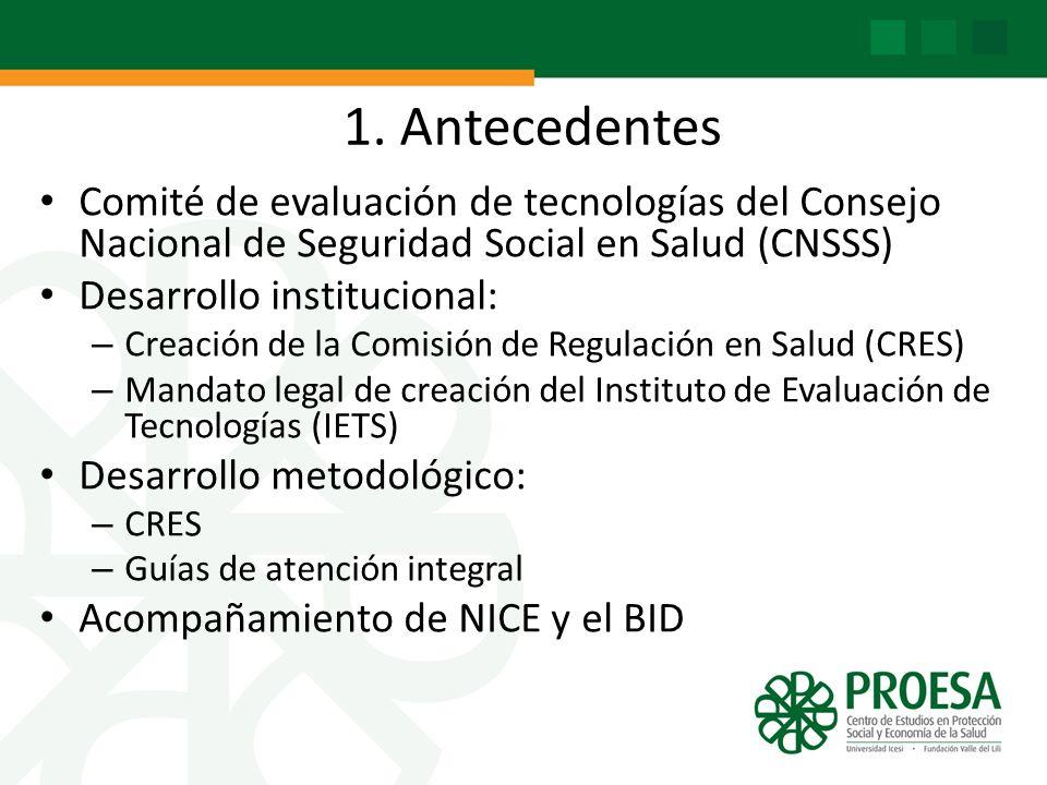 1. Antecedentes Comité de evaluación de tecnologías del Consejo Nacional de Seguridad Social en Salud (CNSSS) Desarrollo institucional: – Creación de