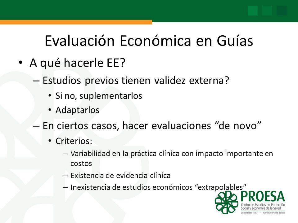 Evaluación Económica en Guías A qué hacerle EE? – Estudios previos tienen validez externa? Si no, suplementarlos Adaptarlos – En ciertos casos, hacer