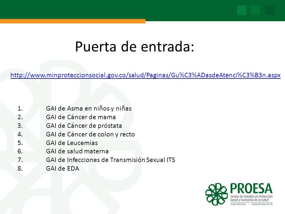 http://www.minproteccionsocial.gov.co/salud/Paginas/Gu%C3%ADasdeAtenci%C3%B3n.aspx Puerta de entrada: 1.GAI de Asma en niños y niñas 2. GAI de Cáncer