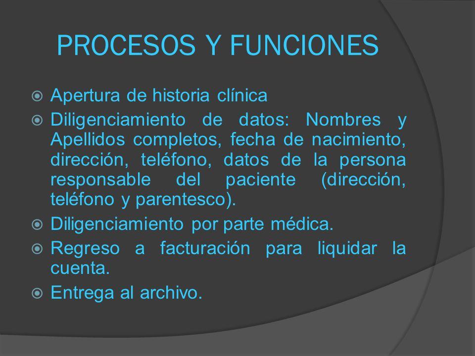 PROCESOS Y FUNCIONES Apertura de historia clínica Diligenciamiento de datos: Nombres y Apellidos completos, fecha de nacimiento, dirección, teléfono,