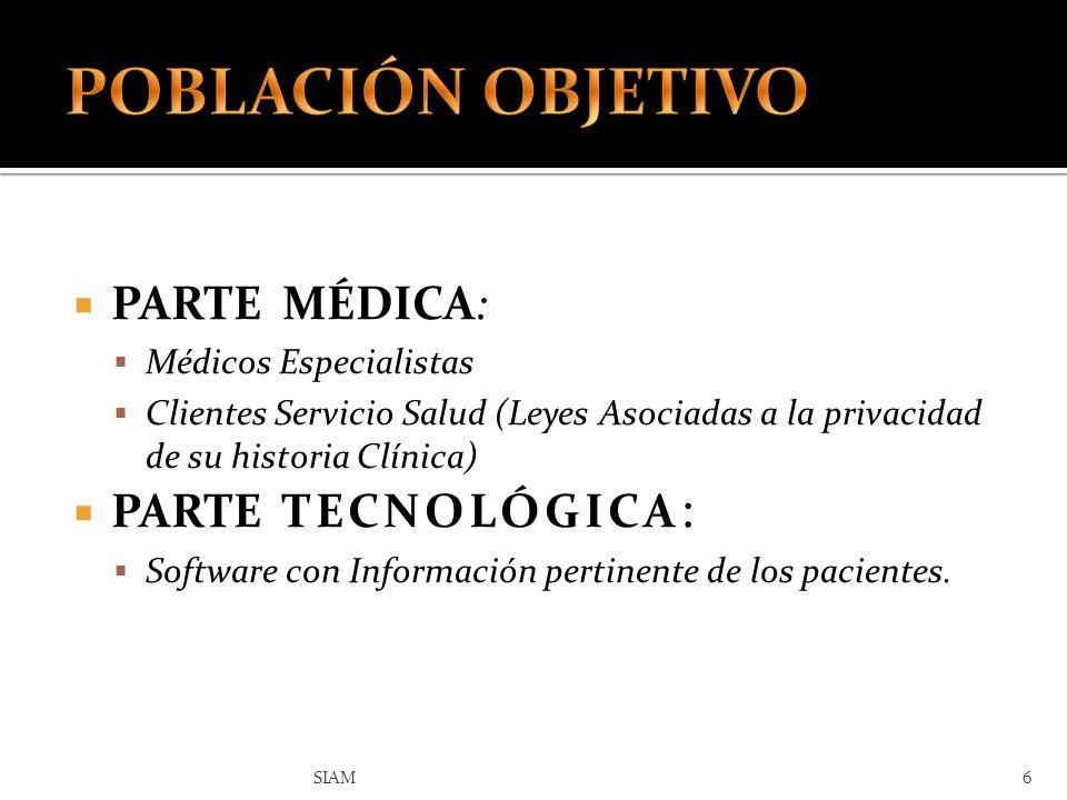 PARTE MÉDICA: Médicos Especialistas Clientes Servicio Salud (Leyes Asociadas a la privacidad de su historia Clínica) PARTE TECNOLÓGICA : Software con
