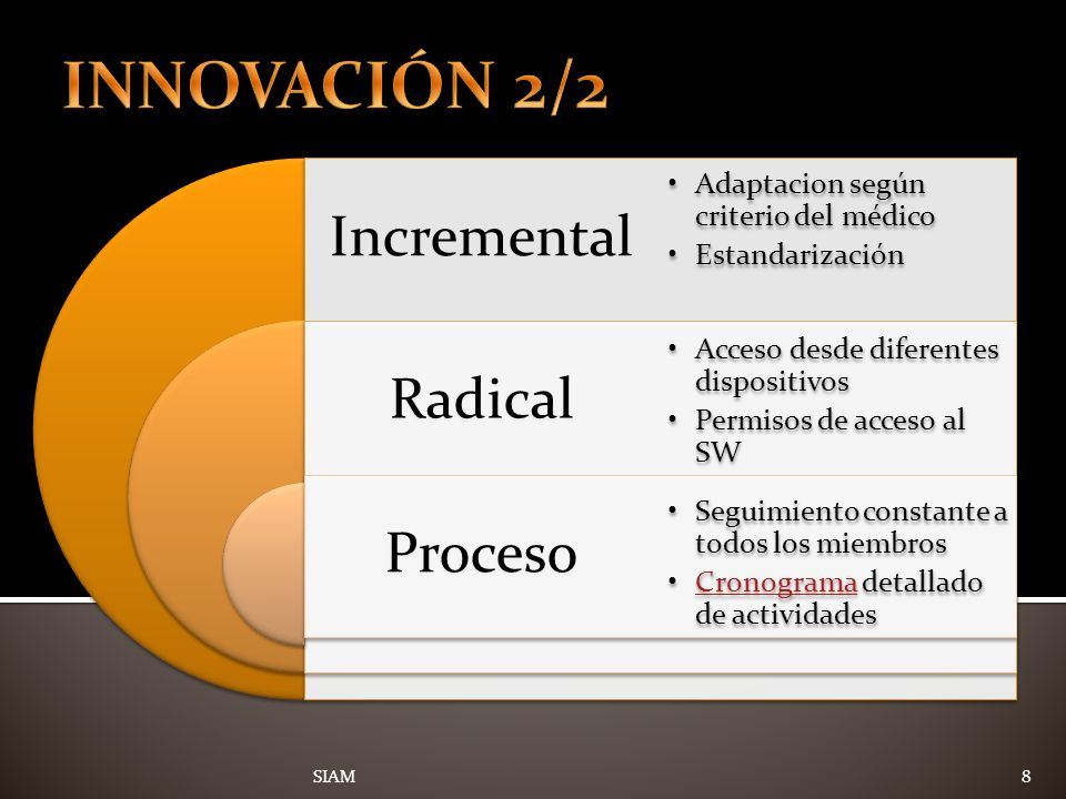 8 Incremental Radical Proceso Adaptacion según criterio del médico Estandarización Acceso desde diferentes dispositivos Permisos de acceso al SW Segui