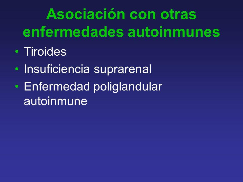 Asociación con otras enfermedades autoinmunes Tiroides Insuficiencia suprarenal Enfermedad poliglandular autoinmune