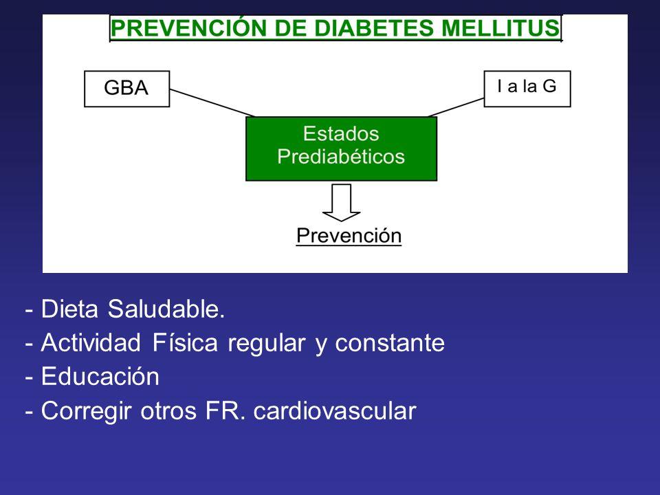 - Dieta Saludable.- Actividad Física regular y constante - Educación - Corregir otros FR.