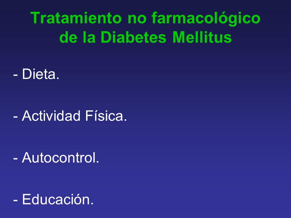 Tratamiento no farmacológico de la Diabetes Mellitus - Dieta.
