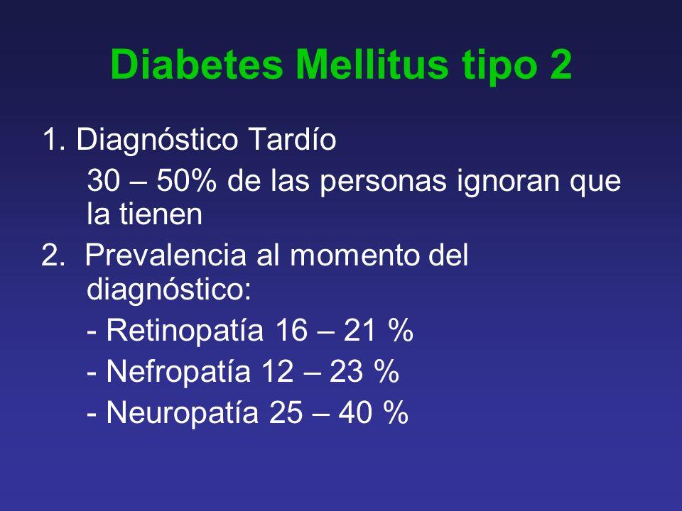 Diabetes Mellitus tipo 2 1.Diagnóstico Tardío 30 – 50% de las personas ignoran que la tienen 2.