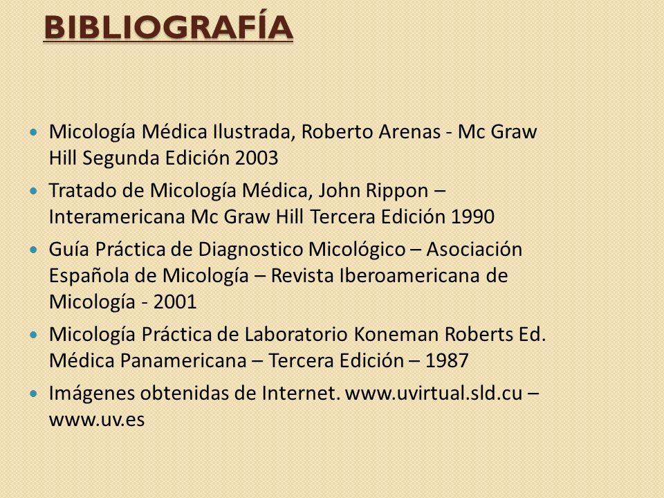 BIBLIOGRAFÍA Micología Médica Ilustrada, Roberto Arenas - Mc Graw Hill Segunda Edición 2003 Tratado de Micología Médica, John Rippon – Interamericana