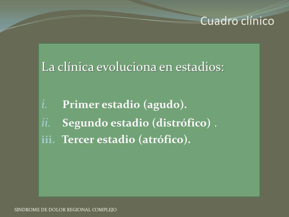 La clínica evoluciona en estadios: i.Primer estadio (agudo).