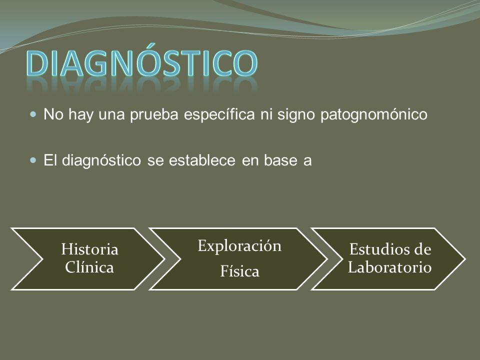 No hay una prueba específica ni signo patognomónico El diagnóstico se establece en base a Historia Clínica Exploración Física Estudios de Laboratorio