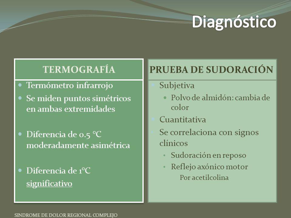 TERMOGRAFÍA PRUEBA DE SUDORACIÓN Termómetro infrarrojo Se miden puntos simétricos en ambas extremidades Diferencia de 0.5 °C moderadamente asimétrica Diferencia de 1°C significativo Termómetro infrarrojo Se miden puntos simétricos en ambas extremidades Diferencia de 0.5 °C moderadamente asimétrica Diferencia de 1°C significativo Subjetiva Polvo de almidón: cambia de color Cuantitativa Se correlaciona con signos clínicos Sudoración en reposo Reflejo axónico motor Por acetilcolina SINDROME DE DOLOR REGIONAL COMPLEJO