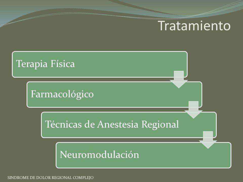 Tratamiento Terapia FísicaFarmacológicoTécnicas de Anestesia RegionalNeuromodulación SINDROME DE DOLOR REGIONAL COMPLEJO