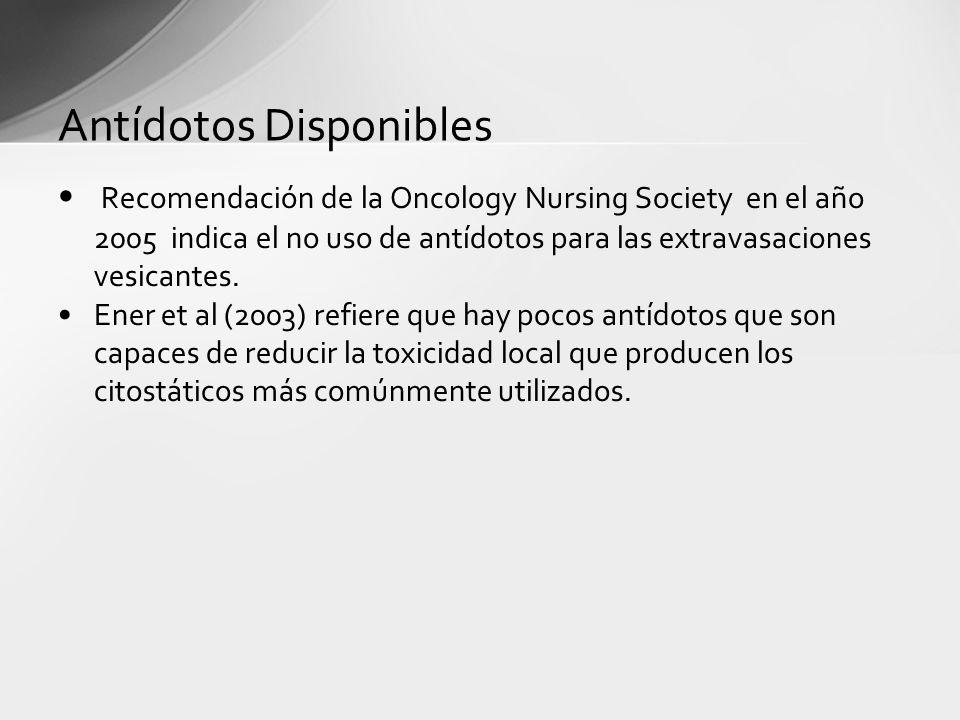Antídotos Disponibles Recomendación de la Oncology Nursing Society en el año 2005 indica el no uso de antídotos para las extravasaciones vesicantes. E