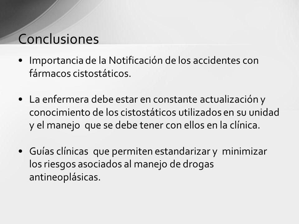 Conclusiones Importancia de la Notificación de los accidentes con fármacos cistostáticos. La enfermera debe estar en constante actualización y conocim