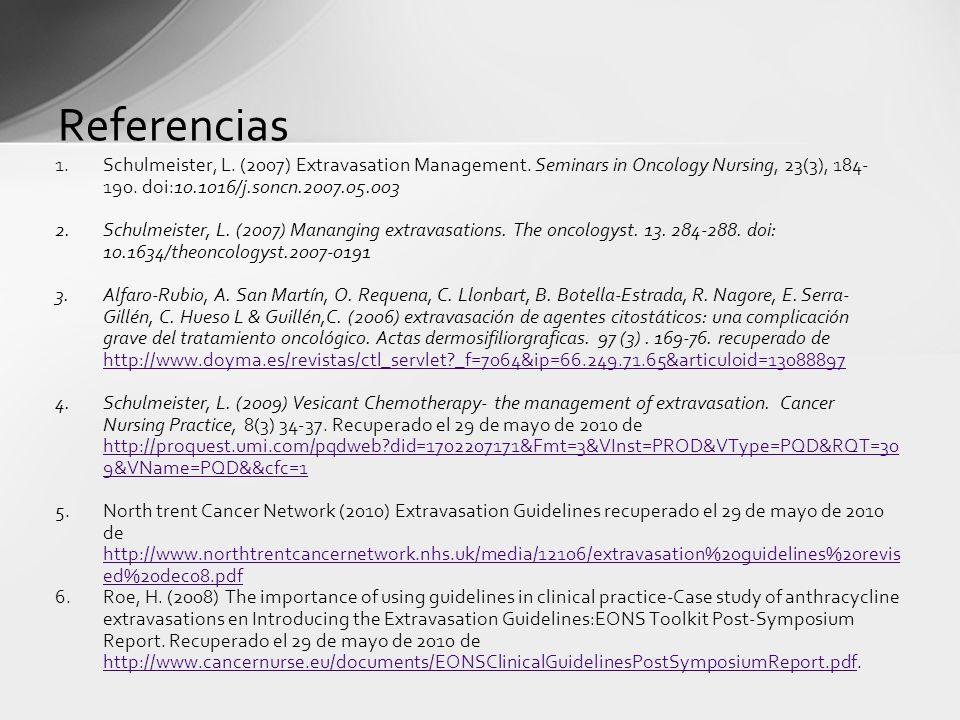 Referencias 1.Schulmeister, L. (2007) Extravasation Management. Seminars in Oncology Nursing, 23(3), 184- 190. doi:10.1016/j.soncn.2007.05.003 2.Schul