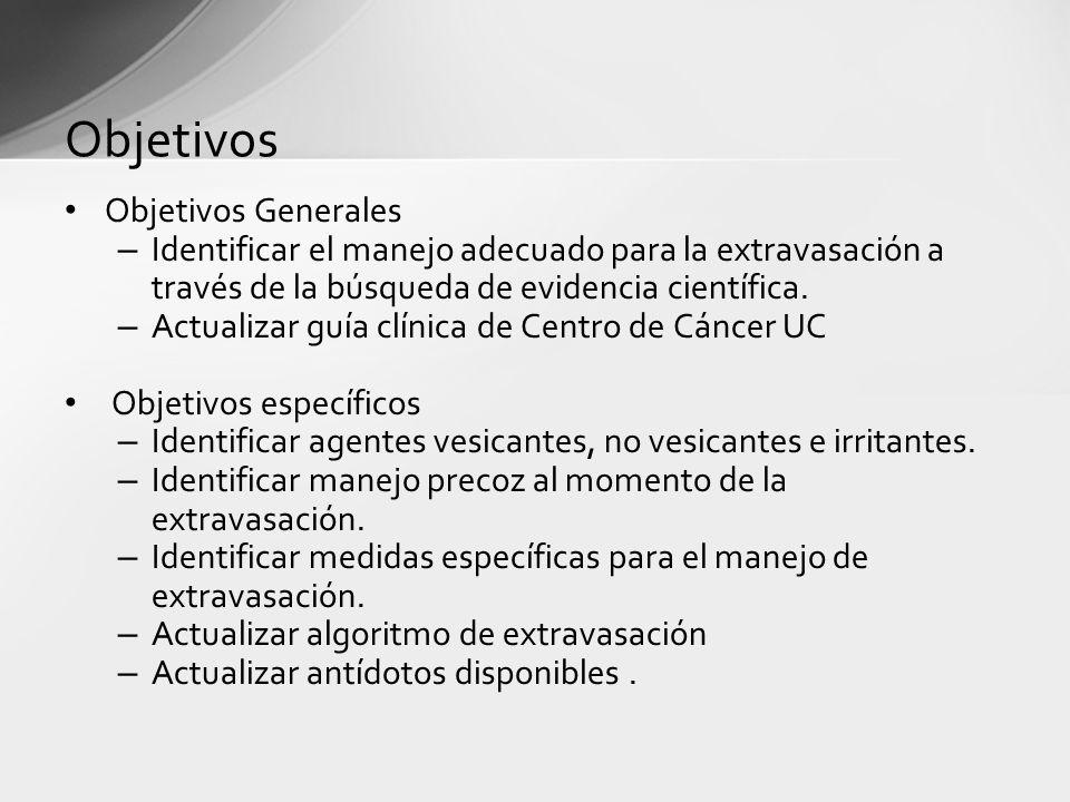 Objetivos Objetivos Generales – Identificar el manejo adecuado para la extravasación a través de la búsqueda de evidencia científica. – Actualizar guí